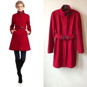 VIA SPIGA Red Wool Blend Military Style Car Coat